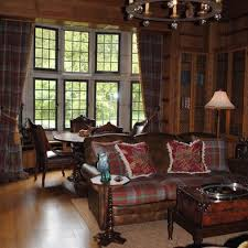 Living Room Ralph Lauren Design Used The ANDERSON Tartan On Leather Sofa