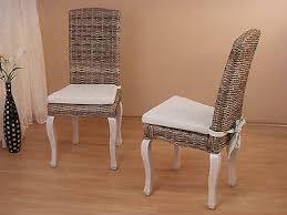 2 rattanstühle inkl sitzkissen esszimmerstuhl stuhlgruppe küchen stuhl stühle ebay