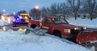 100 Truck With Snow Plow Driver Hurt In Collision With Snow Plow That Toppled Light Pole