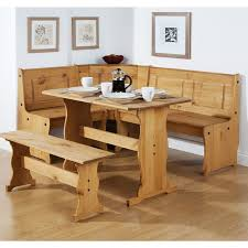 Rustic Corner Bench Dining Table Set On Room With
