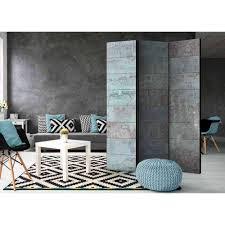 beton wand optik paravent in türkis grau premium