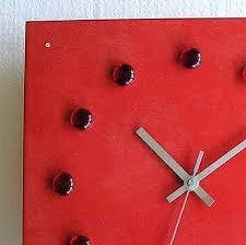 design glasuhr rot funk wanduhr esszimmer wohnzimmer küche