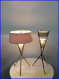 Gerald Thurston Table Lamps by Pair Vintage Gerald Thurston Lightolier Tripod Brass Table Lamps