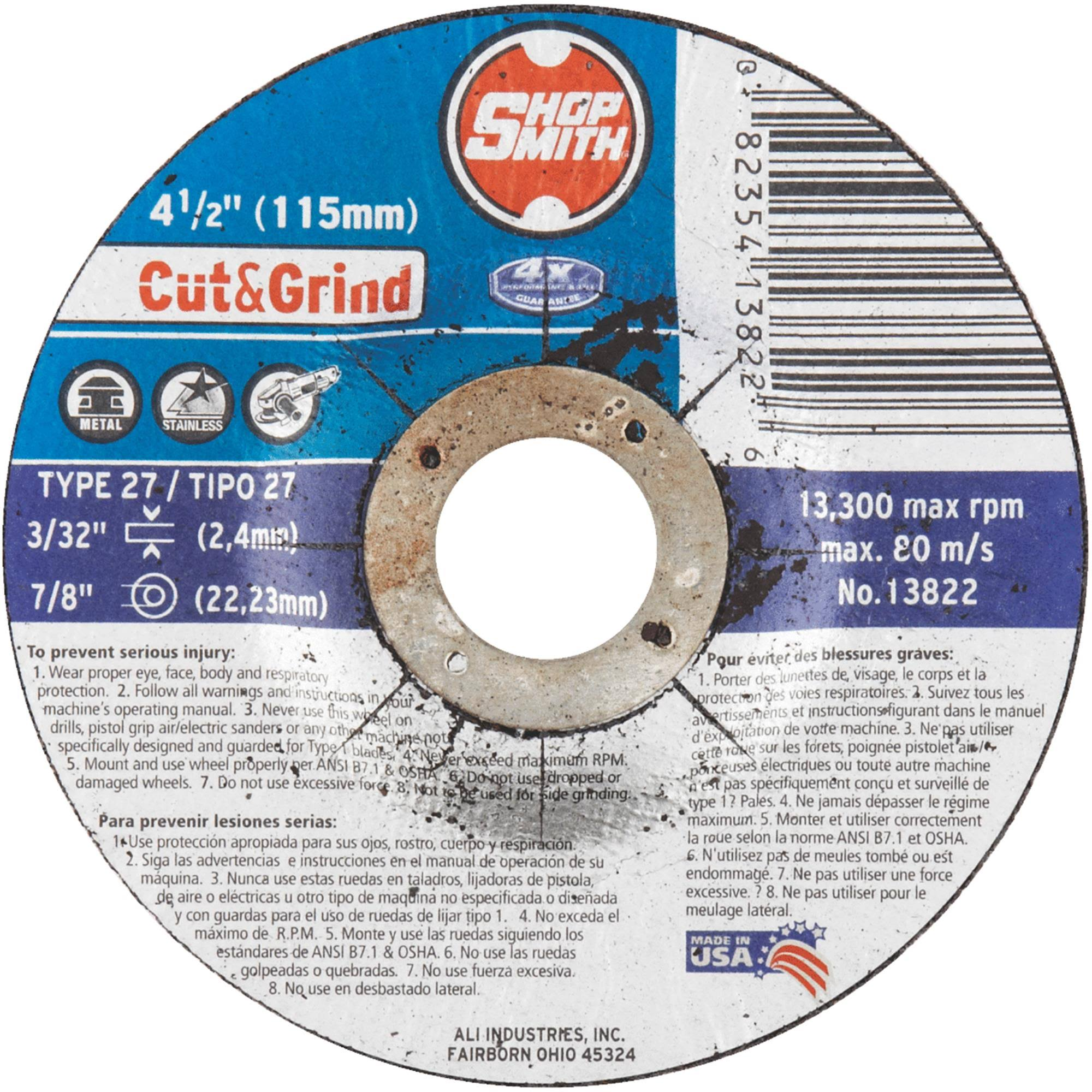 Shop Smith Cut and Grind Cut Off Wheel - Type 27