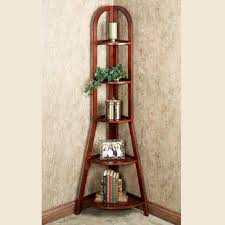 Furniture Dark Brown Wooden Corner Shelves With Five Racks On The Floor Chic Tall