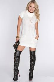 white knitted cowl neck sweater dress amiclubwear clothing