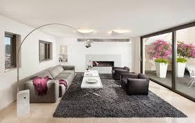 gray shag rug living room contemporary with arco l chrome glass