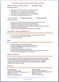 Resume Examples For Teacher Assistant Custom Template Free Career