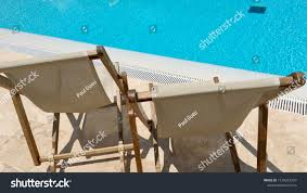 Two Sun Loungers Canvas Wood Lounge Stock Photo (Edit Now ...