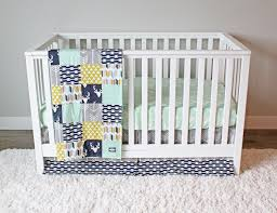 Woodland Nursery Crib Bedding Set in Mint Navy and Grey – Giggle