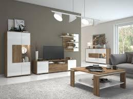 wohnzimmer einrichtung wohnzimmer komplett set b manase 5 teilig farbe eiche braun weiß hochglanz