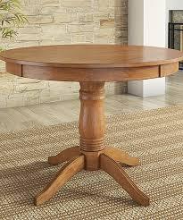 HomeBelle Oak Finish Round Dining Table