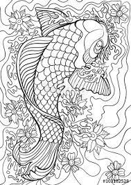 Adult Coloring Book Illustration Tattoo Set Koi Vector
