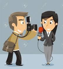 Journalist News Reporter With Camera Vector Illustration Cartoon Stock