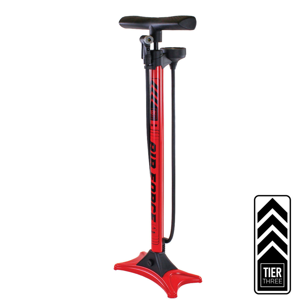 Serfas FP-T3 Air Force Tier Three Bicycle Floor Pump (Red)