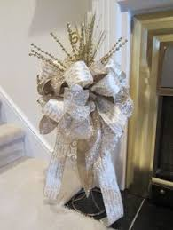 Christmas Tree Topper Bow SHIPPING Included Luxury Designer Religious Ribbon Gold White Holiday Decor
