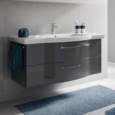 lomadox badezimmer waschtischset inkl keramikbecken solingen 66 in anthrazit hochglanz b h t 122 55 51 5cm
