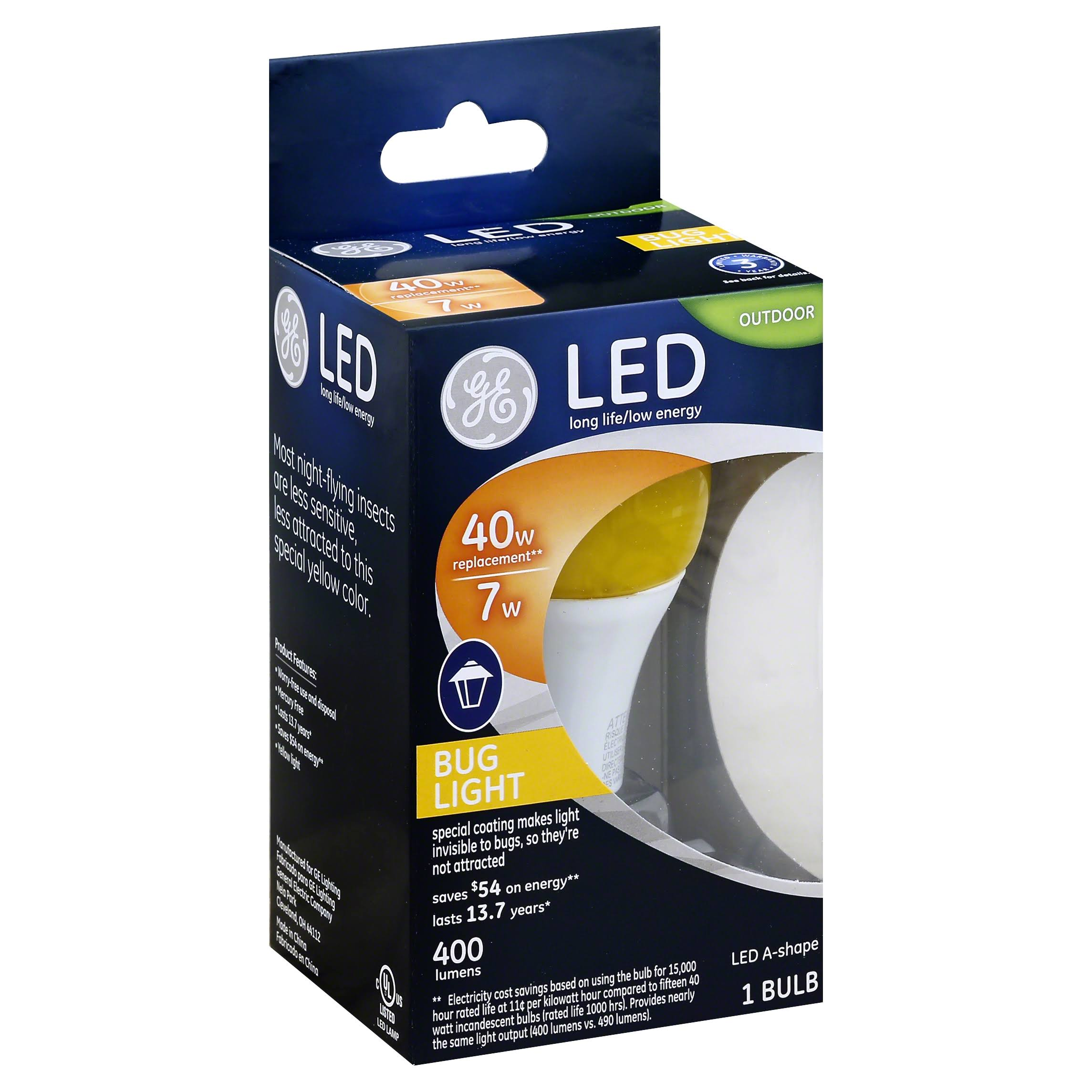 GE Light Bulb, LED, Outdoor Bug Light, 7 Watts