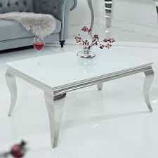 design couchtisch modern barock 100cm silber mit weißem opalglas wohnzimmertisch sofatisch beistelltisch
