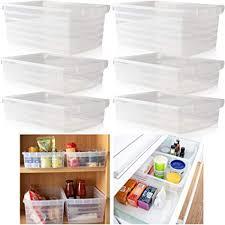hausfelder ordnungsliebe küchen organizer aufbewahrungsbox transparente küchenschrank speisekammer aufbewahrung 6er set 2 stk hoch 4 stk flach