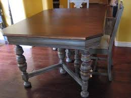 Very Close To My Dining Room Table Refinished In Gray With Walnut Top And Antique Gold Accents