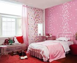 Pink Teen Bedroom Decor With And Colorful Ornaments Wallpaper Wooden Table Also