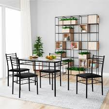 VECELO Dining Table Sets, Glass Table With 4 Chairs Metal Kitchen Room  Furniture 5 Pcs Argos Home Lido Glass Ding Table 4 Chairs Black Winsome Wood Groveland Square With 5piece Ktaxon 5 Piece Set4 Chairsglass Breakfast Fniture Crown Mark Etta And Bench 22256p Hesperia Casual Drop Leaves Storage Drawer By Coaster At Value City Braden Set Includes Morris Furnishings Tall Ding Table Chairs Height Canterbury Ekedalen Dark Brown Orrsta Light Gray Cascade Round Kincaid Becker World Costway Metal Kitchen