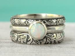 White Opal Ring Set Of Sterling Silver Flower Pattern Floral Vintage Style Stackable Stack Engagement Bridal Rustic Wedding Band