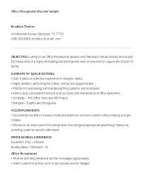 Resume For Receptionist Sample Resumes