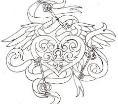 Tattoo Coloring Sheets Antique Heart Lock