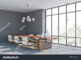 Corner Panoramic Dining Room Gray Walls Stock Illustration ...