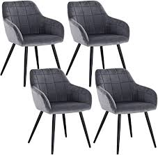 woltu 4 x esszimmerstühle 4er set esszimmerstuhl küchenstuhl polsterstuhl design stuhl mit armlehne mit sitzfläche aus samt gestell aus metall