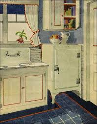 Red White And Blue Vintage 1920s Kitchen