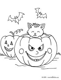 Pumpkin Patch Coloring Pages Free Printable by Pumpkin With Bats And Cats Coloring Pages Hellokids Com