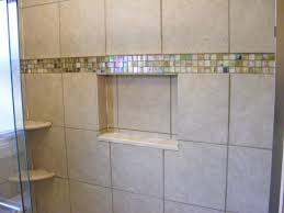 glass tile accent line in shower bathrooms tile