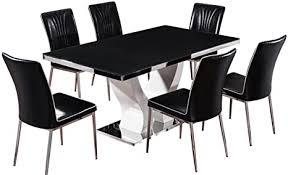 de 7 schwarz kariert braun glastisch mit 6