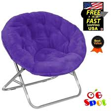 faux fur saucer folding chair moon chair furniture seat purple