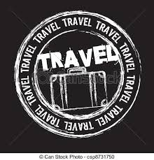 White Travel Stamp Isolated Over Black Background Vector