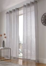 Striped Sheer Curtain Panels by Atlanta Sparkle Stripe Voile Sheer Curtain Glitter Ready Made