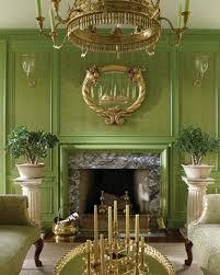 لون الجدار زيتون أخضر عصري