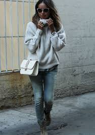 White Knit Sweater Jeans Booties And Valentino Bag