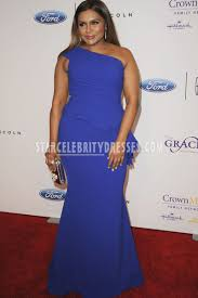 mindy kaling annual gracie awards 2016 blue long plus size prom