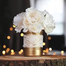 Gold Painted Tin Can Rustic Vintage Wedding Table Decoration Flower Pot