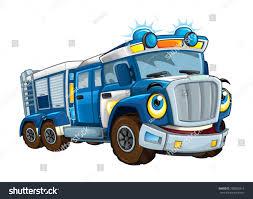 Cartoon Happy Funny Police Truck Isolated Stock Illustration ...