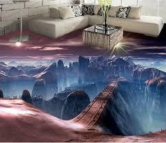 benutzerdefinierte pvc boden 3d landschaft wallpaperscene land brücke 3d boden malerei tapeten für wohnzimmer bad vinyl böden