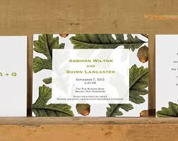Modern Oak And Acorn Botanical Wedding InvitationsRustic Tree InvitationModern