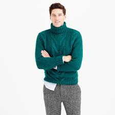 j crew italian wool cable turtleneck sweater in green for men lyst
