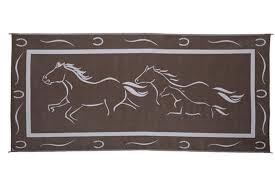 Reversible Patio Mats 8 X 20 by Ming U0027s Mark Gh8187 8 U0027 X 18 U0027 Horses Reversible Rv Patio Mat Brown