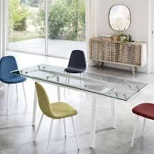 toller glastisch für esszimmer albertin mit weißem metall