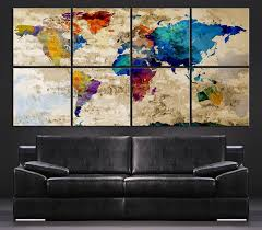 Large Wall Art Canvas Print Colorful WORLD MAP On Rustic
